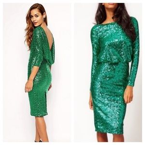 NWT ASOS Sequin Cowl Back Green Midi Dress  Sz 2
